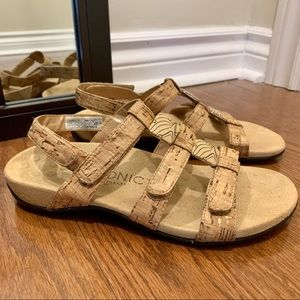 Vionic Amber Cork Embellished Adjustable Sandal